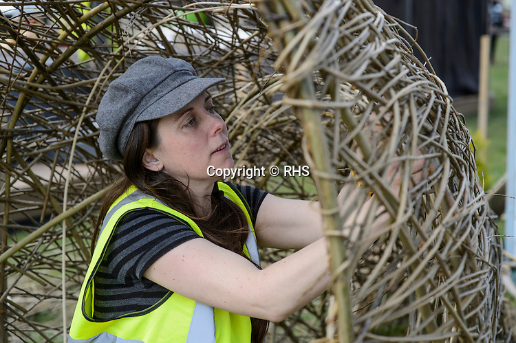 Nancy Evans weaving Surf our Turf. Designed by Rebecca Vincent. RHS Flower Show Cardiff 2016.