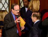 United States Representatives Elliot Engel (Democrat of New York) and Jerry Nadler (Democrat of New York) in conversation as the 116th Congress convenes for its opening session in the US House Chamber of the US Capitol in Washington, DC on Thursday, January 3, 2019.  Engel is the incoming Chairman of the US House Foreign Relations Committee and Nadler is the incoming Chairman of the US House Judiciary Committee. Photo Credit: Ron Sachs/CNP/AdMedia