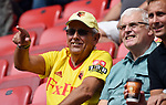 A Watford fan before the start of the premier league match at the Vicarage Road Stadium, Watford. Picture date 26th August 2017. Picture credit should read: Robin Parker/Sportimage