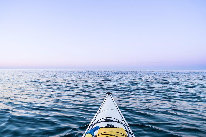 Sea kayaking Lake Superior at Marquette, Michigan