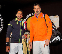 Februari 12, 2015, Netherlands, Rotterdam, Ahoy, ABN AMRO World Tennis Tournament, Aisam-Ul-Haq Qureshi (PAK) / Nedad Zimonjic (SRB)<br /> Photo: Tennisimages/Henk Koster