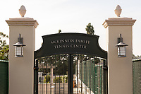 View of the entrance sign at the McKinnon Family Tennis Center at Kemp Stadium, Nov. 26, 2019.<br /> (Photo by Marc Campos, Occidental College Photographer)