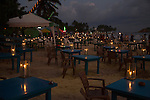 Candles on tables of beach bar, Mirissa, Sri Lanka, Asia