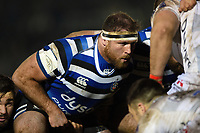 Henry Thomas of Bath Rugby prepares to scrummage against his opposite number. Premiership Rugby Cup match, between Bath Rugby and Gloucester Rugby on February 3, 2019 at the Recreation Ground in Bath, England. Photo by: Patrick Khachfe / Onside Images