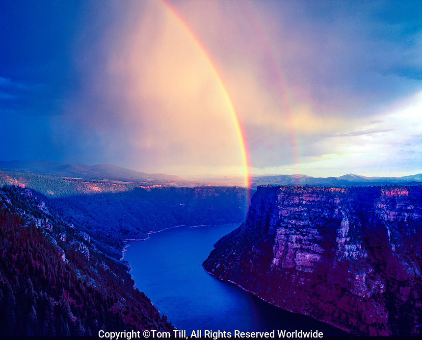 Rainbow over Flaming Gorge, Flaming Gorge National Recreation Area, Utah Red acnyon Overlook, UInta Mountains