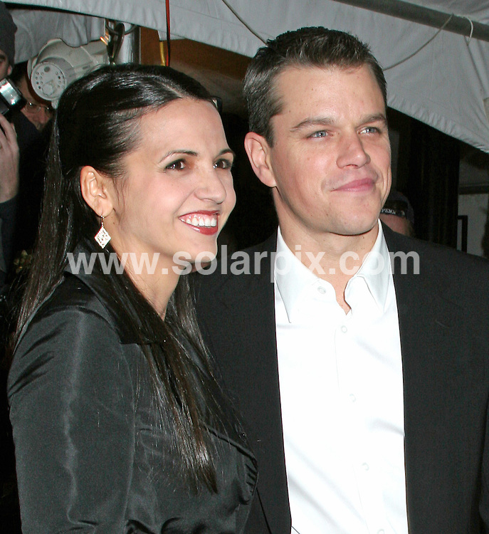 ALL ROUND PICTURES FROM SOLARPIX.COM.SYNDICATION RIGHTS FOR UK, SOUTH AFRICA, DUBAI, AUSTRALIA..Matt Damon with wife Luciana Barroso- The Good Shepherd World Premiere - Arrivals - Ziegfeld Theatre - New York, NY..DATE: 11/12/2006-JOB REF: 3157-PHZ.**MUST CREDIT SOLARPIX.COM OR DOUBLE FEE WILL BE CHARGED**