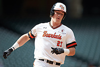 Blake Chisolm (27) of the Sam Houston State Bearkats hustles towards home plate against the Vanderbilt Commodores in game one of the 2018 Shriners Hospitals for Children College Classic at Minute Maid Park on March 2, 2018 in Houston, Texas. The Bearkats walked-off the Commodores 7-6 in 10 innings.   (Brian Westerholt/Four Seam Images)