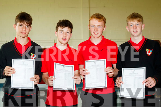 The Best<br /> ------------<br /> Pupils from Me&aacute;n Scoil Nua an Leith Tri&uacute;igh, Castlegregory who had many many A grades between them in the Junior Cert last Wednesday were L-R Seamus Lyne, Sean Murchan, Fionn &Oacute; Cuileannain and Cian O'Grady.