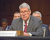 "J. Michael Pearson, Chief Executive Officer, Valeant Pharmaceuticals International, Inc; gives testimony before the United States Senate Committee on Aging hearing on ""Valeant Pharmaceuticals' Business Model: the Repercussions for Patients and the Health Care System"" on Capitol Hill in Washington, DC on Wednesday, April 27, 2016.  Valeant raised the price of four life-saving drugs: Isuprel by about 720 percent; Nitropress by 310 percent; Cuprimine by 5,878 percent, and Syprine by 3,162 percent after acquiring them in 2015. It is the high prices that are now at the heart of two congressional probes.<br /> Credit: Ron Sachs / CNP"