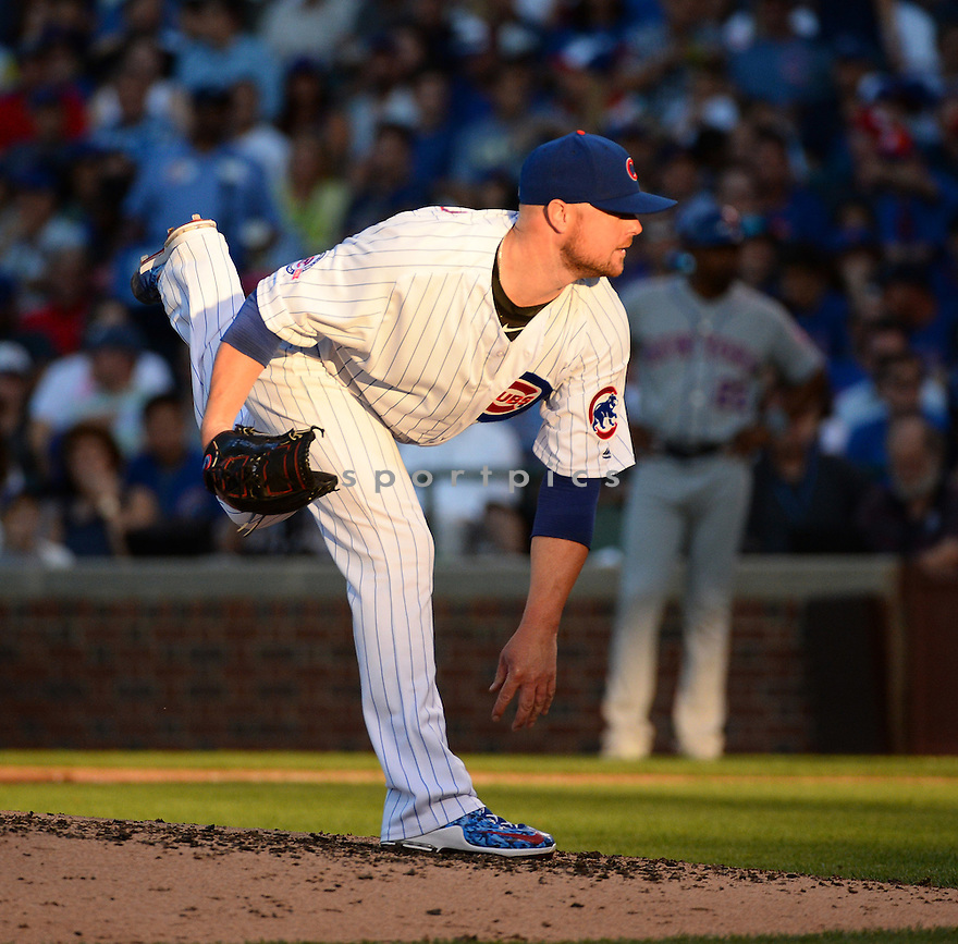 Chicago Cubs Jon Lester (34) during a game against the New York Mets on July 18, 2016 at Wrigley Field in Chicago, IL. The Cubs beat the Mets 5-1.