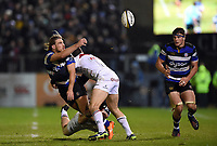 Max Clark of Bath Rugby offloads the ball after being tackled. Anglo-Welsh Cup match, between Bath Rugby and Leicester Tigers on November 10, 2017 at the Recreation Ground in Bath, England. Photo by: Patrick Khachfe / Onside Images