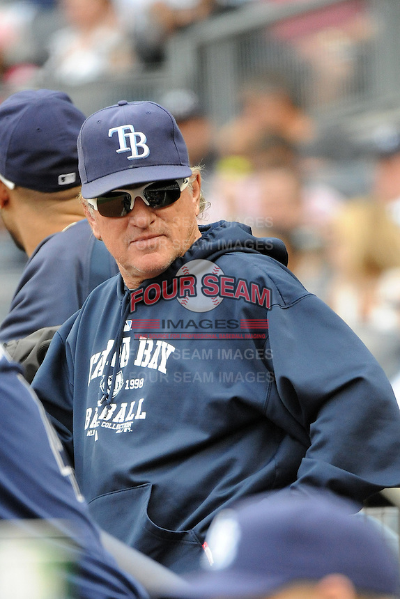 Tampa Bay Rays manager Joe Maddon #70 during a game against the New York Yankees at Yankee Stadium on September 21, 2011 in Bronx, NY.  Yankees defeated Rays 4-2.  Tomasso DeRosa/Four Seam Images