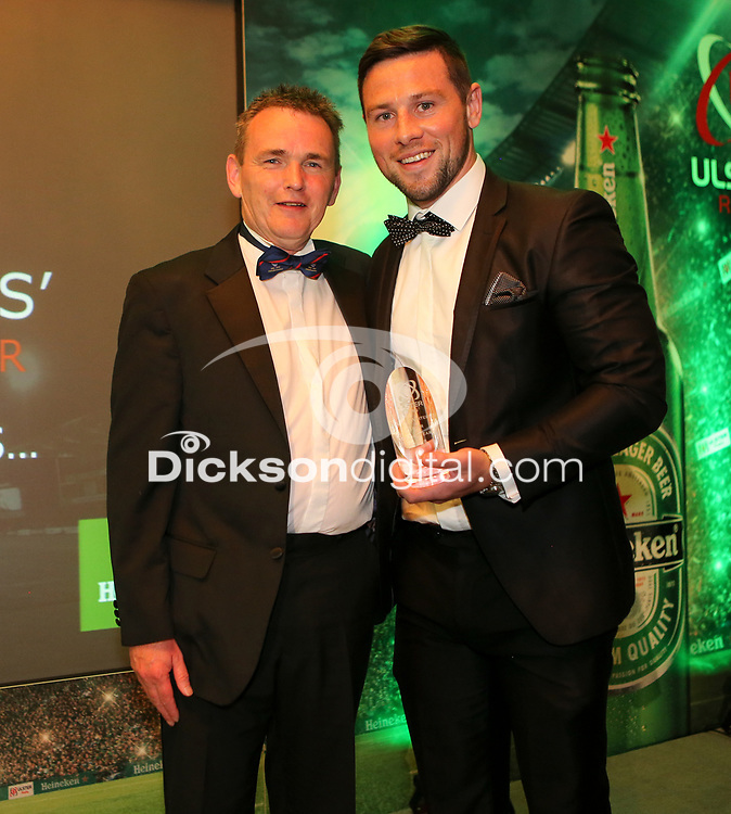Thursday 10th May 2018 | Ulster Rugby Awards 2018<br /> <br /> Richard Mulligan, Head of Sport at Johnston Press presents the Rugby Writers&rsquo; Player of the Year Award to John Cooney, during the 2018 Heineken Ulster Rugby Awards at La Mom Hotel, Belfast. Photo by John Dickson / DICKSONDIGITAL