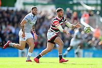 Owen Williams of Leicester Tigers passes the ball. Aviva Premiership match, between Leicester Tigers and Bath Rugby on September 25, 2016 at Welford Road in Leicester, England. Photo by: Patrick Khachfe / Onside Images