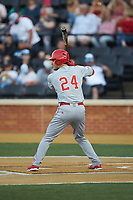 Luca Tresh (24) of the North Carolina State Wolfpack at bat against the Wake Forest Demon Deacons at David F. Couch Ballpark on April 18, 2019 in  Winston-Salem, North Carolina. The Demon Deacons defeated the Wolfpack 7-3. (Brian Westerholt/Four Seam Images)
