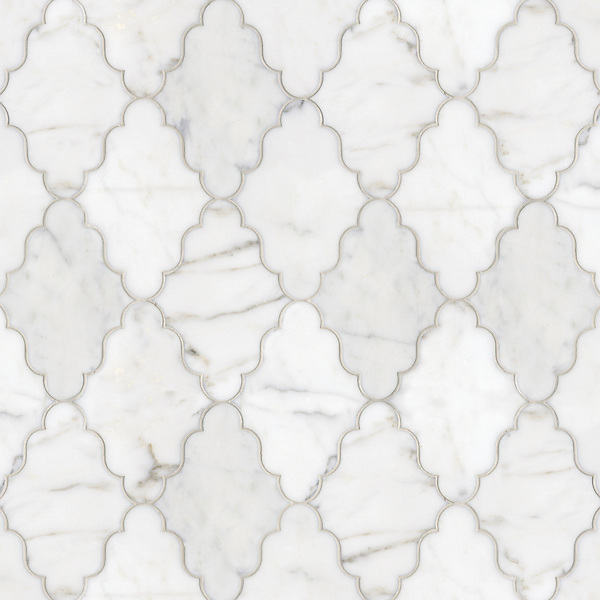 Djinn, a waterjet stone mosaic, shown in Calacatta Tia polished, is part of the Silk Road collection by Sara Baldwin for New Ravenna Mosaics. <br />