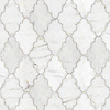 Djinn, a waterjet stone mosaic shown in polished Calacatta Tia, is part of the Silk Road® collection by New Ravenna.