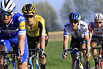 The main bunch of favourites including Zdenek Stybar (CZE) Deceuninck-Quick Step and Wout Van Aert (BEL) Team Jumbo-Visma and Matteo Trentin (ITA) Mitchelton-Scott descend off Paterberg during the 2019 E3 Harelbeke Binck Bank Classic 2019 running 203.9km from Harelbeke to Harelbeke, Belgium. 29th March 2019.<br /> Picture: Eoin Clarke | Cyclefile<br /> <br /> All photos usage must carry mandatory copyright credit (© Cyclefile | Eoin Clarke)