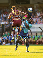 Aaron Pierre of Wycombe Wanderers during the Pre-Season Friendly match between Wycombe Wanderers and Queens Park Rangers at Adams Park, High Wycombe, England on the 22nd July 2016. Photo by Liam McAvoy / PRiME Media Images.