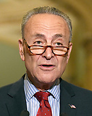 United States Senate Minority Leader Chuck Schumer (Democrat of New York) speaks to reporters outside the US Senate Chamber following the Democrats' weekly luncheon caucus in the US Capitol in Washington, DC on Tuesday, September 19, 2017.  The Democratic leadership is advocating against the passage of the Graham-Cassidy Act that would replace parts of the Affordable Care Act (also known as ObamaCare) with block grants for the individual states.<br /> Credit: Ron Sachs / CNP