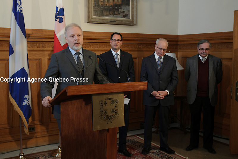 January 23, 2013 File Photo - Jean-Francois Lisee, <br />     Minister of International Relations, La Francophonie and External Trade<br />       Minister responsible for the Montreal region (L),<br />  Michael Applebaum, Mayor of Montreal (L), and <br /> Jacques Leonard (R)<br /> at Montreal City Hall