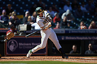 Mack Mueller (50) of the Baylor Bears at bat against the Missouri Tigers in game one of the 2020 Shriners Hospitals for Children College Classic at Minute Maid Park on February 28, 2020 in Houston, Texas. The Bears defeated the Tigers 4-2. (Brian Westerholt/Four Seam Images)