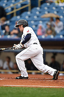 Lake County Captains outfielder Clint Frazier (20) at bat during a game against the Dayton Dragons on June 8, 2014 at Classic Park in Eastlake, Ohio.  Lake County defeated Dayton 4-2.  (Mike Janes/Four Seam Images)