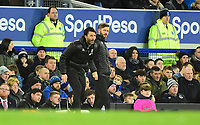 Lincoln City manager Danny Cowley, left, and Nicky Cowley in their technical `area<br /> <br /> Photographer Andrew Vaughan/CameraSport<br /> <br /> Emirates FA Cup Third Round - Everton v Lincoln City - Saturday 5th January 2019 - Goodison Park - Liverpool<br />  <br /> World Copyright &copy; 2019 CameraSport. All rights reserved. 43 Linden Ave. Countesthorpe. Leicester. England. LE8 5PG - Tel: +44 (0) 116 277 4147 - admin@camerasport.com - www.camerasport.com