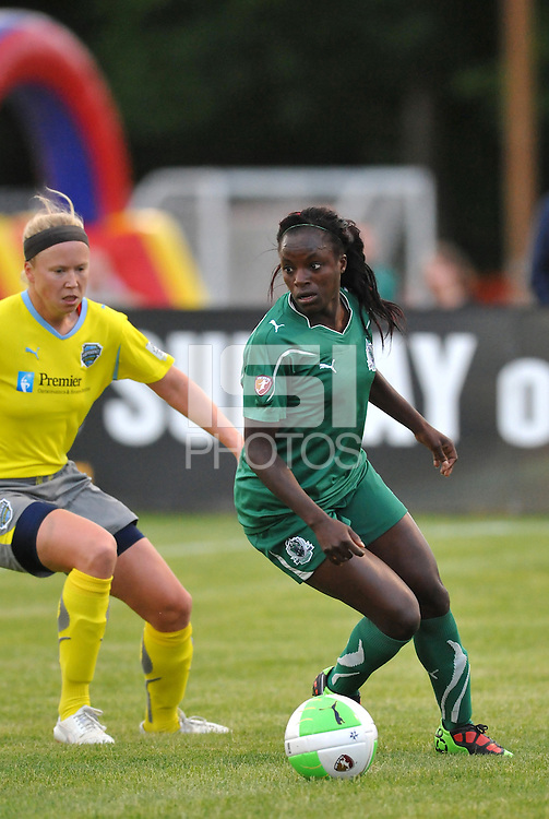 Eniola Aluko marked by Sara Larsson...Saint Louis Athletica defeated Philadelphia Independence 2-1 at Anheuser-Busch Soccer Park, Fenton, MO.