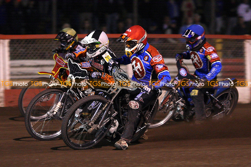 Heat 7: Iversen (tactical ride), Howe (yellow), Bridger (red), Kling  - Lakeside Hammers vs Wolverhampton Wolves - Elite League Speedway at Arena Essex, Purfleet - 22/08/08 - MANDATORY CREDIT: Gavin Ellis/TGSPHOTO - Self billing applies where appropriate - 0845 094 6026 - contact@tgsphoto.co.uk - NO UNPAID USE.