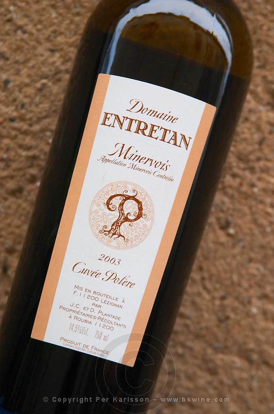 Domaine Entretan, J-C and D Plantade in Roubia. Cuvee Polere Minervois. Languedoc. France. Europe. Bottle.