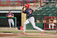 Peoria Chiefs Magneuris Sierra (34) swings during the Midwest League game against the Burlington Bees at Community Field on June 8, 2016 in Burlington, Iowa.  Burlington won 4-2.  (Dennis Hubbard/Four Seam Images)