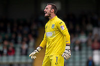 Artur Krysiak of Yeovil Town during the Sky Bet League 2 match between Yeovil Town and Wycombe Wanderers at Huish Park, Yeovil, England on 8 October 2016. Photo by Mark  Hawkins / PRiME Media Images.