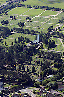 Aerial view of Morriston Crematorium in Swansea south Wales