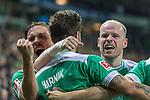 08.03.2019, Weser Stadion, Bremen, GER, 1.FBL, Werder Bremen vs FC Schalke 04, <br /> <br /> DFL REGULATIONS PROHIBIT ANY USE OF PHOTOGRAPHS AS IMAGE SEQUENCES AND/OR QUASI-VIDEO.<br /> <br />  im Bild<br /> <br /> Jubel Martin Harnik (Werder Bremen #09) Tor 4:2 Kevin M&ouml;hwald / Moehwald (Werder Bremen #06)<br /> Davy Klaassen (Werder Bremen #30)<br /> Max Kruse (Werder Bremen #10)<br /> <br /> Foto &copy; nordphoto / Kokenge