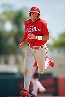 Philadelphia Phillies Alec Bohm (18) runs the bases during a Florida Instructional League game against the Baltimore Orioles on October 4, 2018 at Ed Smith Stadium in Sarasota, Florida.  (Mike Janes/Four Seam Images)