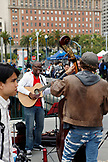 USA, California, San Francisco, the Embarcadero, the musicians perform at the farmers market during the weekend, the Ferry Building