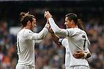 Real Madrid´s Cristiano Ronaldo celebrates a goal with Gareth Bale during 2015/16 La Liga match between Real Madrid and Sporting de Gijon at Santiago Bernabeu stadium in Madrid, Spain. January 17, 2015. (ALTERPHOTOS/Victor Blanco)