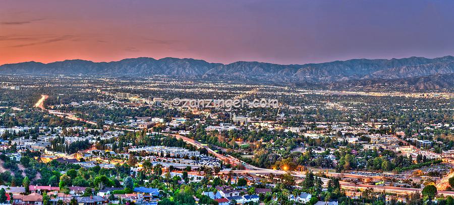 San Fernando Valley, San Gabriel and Santa Susana Mountains, Sunset Panorama, 101 Freeway, Car lights Streaking, Houses lit, beautiful