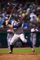 Brooklyn Cyclones catcher Brandon Brosher (18) at bat during a game against the Tri-City ValleyCats on September 1, 2015 at Joseph L. Bruno Stadium in Troy, New York.  Tri-City defeated Brooklyn 5-4.  (Mike Janes/Four Seam Images)