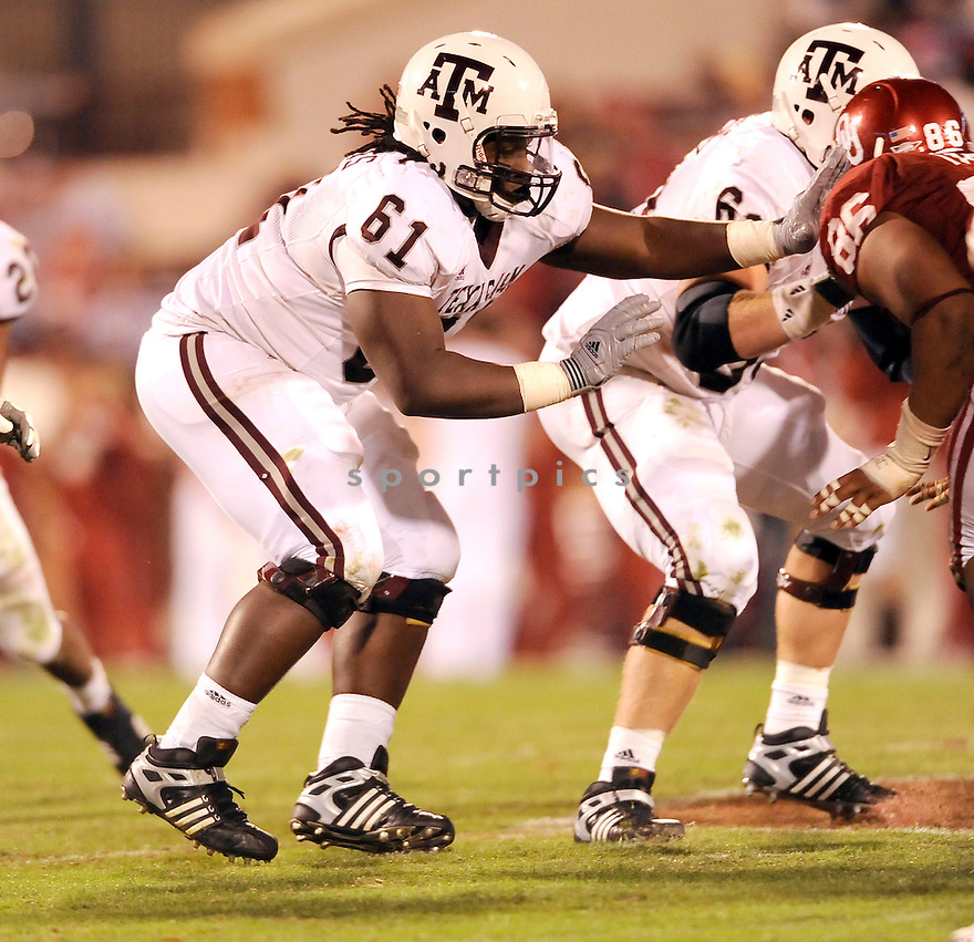 Texas A&M Aggies Patrick Lewis (61) in action during a game against Oklahoma on November 14, 2009 at Gaylord Family Oklahoma Memorial Stadium in Norman, OK. Oklahoma beat Texas A&M 65-10.
