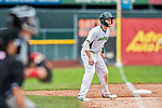 25 July 2017: Vermont Lake Monsters outfielder Greg Deichmann, a 2nd round draft pick for the Oakland Athletics, takes a lead off third in the 7th inning against the Tri-City ValleyCats at Centennial Field in Burlington, Vermont. The Lake Monsters defeated the ValleyCats 11-3 in NY Penn League action. Mandatory Credit: Ed Wolfstein Photo *** RAW (NEF) Image File Available ***