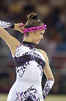 October 20, 2001; Madrid, Spain:  ELENA TKACHENKA for Belarus begins routine with rope at 2001 World Championships at Madrid.