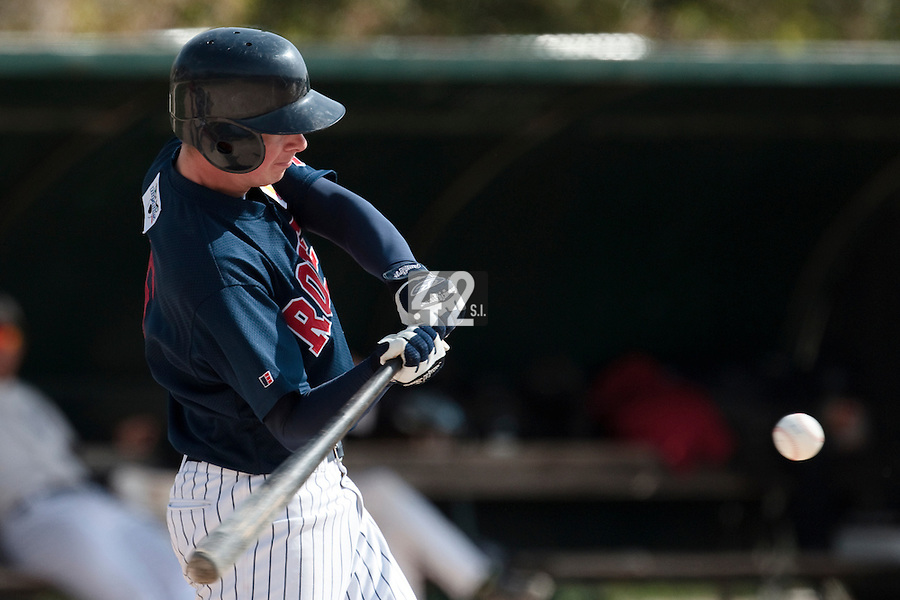 25 April 2010: Anthony Piquet of Rouen is seen at bat during game 1/week 3 of the French Elite season won 12-4 by Rouen over the PUC, at the Pershing Stadium in Vincennes, near Paris, France.
