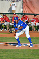 Ibandel Isabel (54) of the Ogden Raptors on defense against the Idaho Falls Chukars in Pioneer League action at Lindquist Field on June 28, 2016 in Ogden, Utah. The Raptors defeated the Chukars 12-11. (Stephen Smith/Four Seam Images)