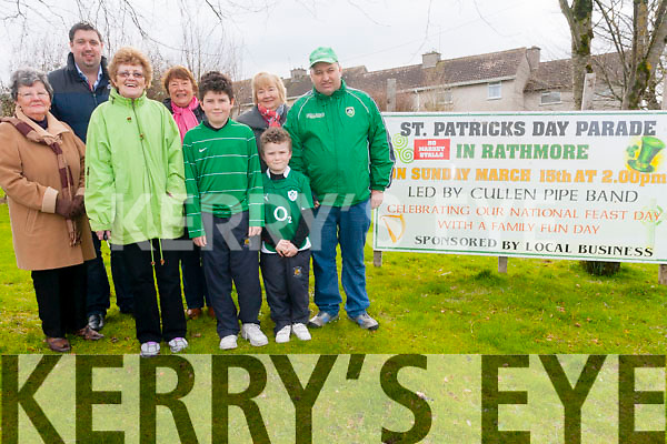 Rathmore is the first village in Kerry to host the annual St Patrick's day parades with their parade taking place on Sunday, March 15th. <br /> Front l-r Shelia Moynihan, William and Cathal Casey and Michael O'Mahony. <br /> Back l-r Kathleen O'Leary, Cllr Niall Kelleher, Margaret Hickey and Bridie O'Neill.