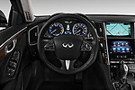 Car pictures of steering wheel view of a 2017 Infiniti Q50 Hybrid-Premium 4 Door Sedan Steering Wheel