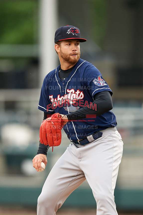 New Hampshire Fisher Cats starting pitcher T.J. Zeuch (28) delivers a pitch during the second game of a doubleheader against the Harrisburg Senators on May 13, 2018 at FNB Field in Harrisburg, Pennsylvania.  New Hampshire defeated Harrisburg 6-1.  (Mike Janes/Four Seam Images)