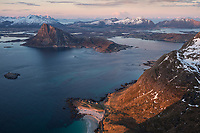Storsandnes beach catches evening light in spring, Flakstadøy, Lofoten Islands, Norway
