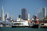 Maritime Museum & San Francisco Skyline, Bay Area. waterfront, cityscape, ship, ships, museums. San Francisco California, Maritime Museum.